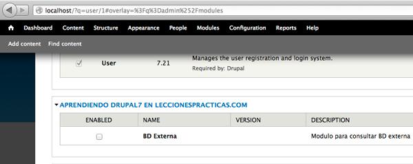 conexion a base de datos externa drupal con un nuevo módulo