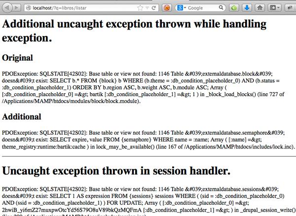 drupal external database semaphore error