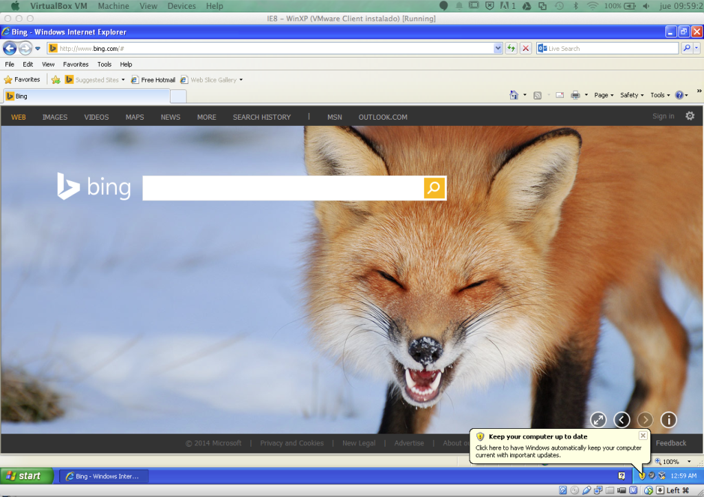 Internet Explorer en MAC OSX